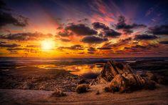 Télécharger fonds d'écran 4k, littoral, mer, coucher du soleil, les mouettes