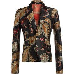 Dsquared2 Jacquard Blazer ($915) ❤ liked on Polyvore featuring outerwear, jackets, blazers, blazer, multicolor, jacquard jacket, shiny jacket, metallic gold blazer, slim jacket and metallic gold jacket