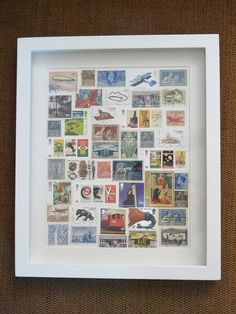 Art Deco Stampede – A new Postage Stamp Picture. It was a great fun sourcing the stamps to suit the art deco era to create this unique Original Stampede for a design loving sister to brother birthday gift. @fromperforation