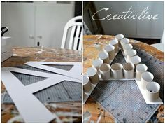DIY decoration letter- DIY Deko-Buchstabe DIY deco letters made of cardboard rolls - Cardboard Letters, Diy Letters, Diy Cardboard, Cardboard Rolls, Diy Karton, Diy Crafts For Home Decor, Diy Paper, Diy For Kids, Diy Tutorial