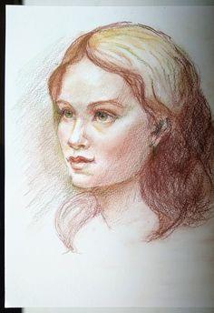 Portrait study in colour pencils on cotton paper, format. By Florina Ravariu. Colored Pencils, Jewelry Art, A4, Art Pieces, Study, Paintings, Colour, Paper, Artist