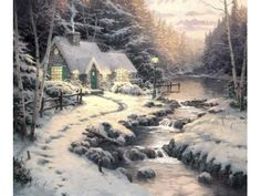 Thomas Kinkade Evening Glow Painting Limited Edition Canvas