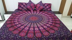 Third Eye Export NEW Barmeri Full Indian Medallion King/Queen Size Cotton Doona Duvet Cover Set Hippie Bohemian Mandala Blanket Quilt Cover Bedspread Bedding Comforter Cover With Pillow Covers