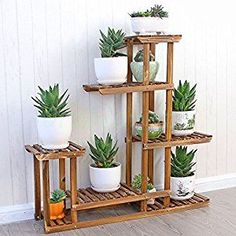 MALAYAS Wooden Plant Flower Display Stand Wood Pot Shelf Storage Rack Outdoor Indoor 6 Pots Holder 96x95x25Cm: Amazon.co.uk: Kitchen & Home