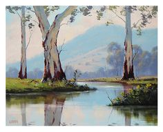 large australian landscape painting gum trees Painting art by listed artist G.Gercken