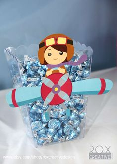 Candy kisses at a girly airplane 1st birthday party! See more party planning ideas at CatchMyParty.com!