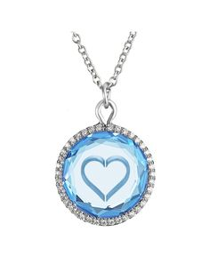 Heart Pendant  in Blue Topaz with Metallic Engraving and Diamonds in White Gold