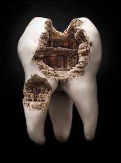 Roman Colosseum, done in a real Tooth Sculpture 1