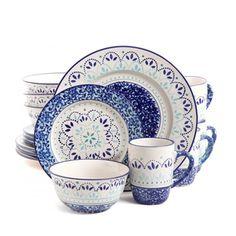 Gibson Elite Kamille Blue Stoneware 16-piece Dinnerware Set | Overstock.com Shopping - The Best Deals on Casual Dinnerware  sc 1 st  Pinterest & Better Homes and Gardens Teal Medallion 12-Piece Dinnerware Set ...