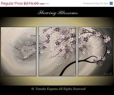 """ON SALE till Monday Original Modern Impasto Painting on Gallery wrapped Canvas 54"""" x24"""" Home Decor, Wall Art --- Flowing  Blossoms---- by T on Etsy, $247.50"""