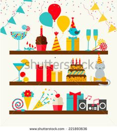 Happy Birthday icons set, vector illustration. Party and celebration design elements: balloons, flags, confetti, cake, drinks, gifts etc.