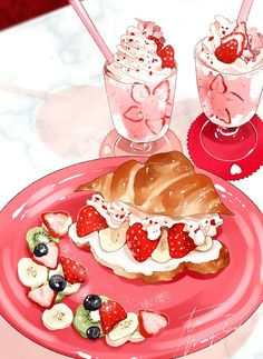 Cute Food Drawings, Kawaii Drawings, Cute Food Art, Cute Art, Griffonnages Kawaii, Desserts Drawing, Dessert Illustration, Food Sketch, Food Cartoon