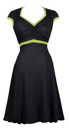 LACHRIS - BLACK/GREEN. http://ecouture.dk/kleider-1/lachris-black-green.html?___store=gb&___from_store=gb.  DRESS IN ORGANIC COTTON-JERSEY The dress is made from Cotton-jersey. It has an elasticated waist panel to make it more flexible.