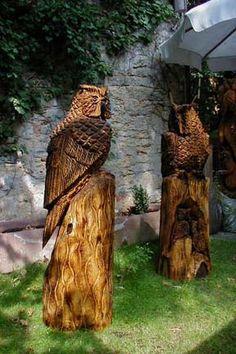 Holzeule Eule owl Holzfigur Bär Wood Carver Chainsaw Artist Carving BaerArt Skulpturen und Totems Holger Bär Schefflenz Art Kunst