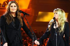 Hillary Scott of Lady Antebellum and Stevie Nicks perform onstage during the 49th Annual Academy Of Country Music Awards