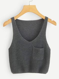 crochet tank tops China Factory Cheaper Price Casual Style Pocket Patch V-Neck Women Sweater Knit Tank Top Débardeurs Au Crochet, Pull Crochet, Crochet Tank Tops, Knitted Tank Top, Knit Tops, Crochet Clothes, Diy Clothes, V Neck Tank Top, Cami Tops