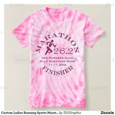 Custom Ladies Running Sports Marathon Finisher Shirt This personalized tee for the runner on your gift list features an icon style runner in pink and purple with a pink background. Great gift for a womens recreational or professional runner, personal trainer or coach who accomplished the big goal of running a marathon -26.2 miles.
