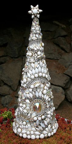 Reserved for Sandi - Huge Gorgeous Vintage Rhinestones Milk-White Jewelry Crystals Christmas Tree with Star - Winter Solstice- Treasury Item