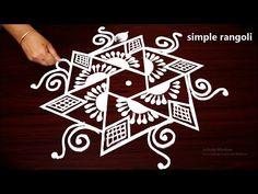 how to draw simple kolam designs with 7 dots - star rangoli designs - creative muggulu designs Simple Rangoli Designs Images, Rangoli Designs Flower, Rangoli Border Designs, Rangoli Designs Diwali, Rangoli Designs With Dots, Rangoli With Dots, Beautiful Rangoli Designs, Simple Rangoli Kolam, Rangoli Ideas
