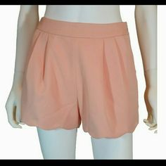 """Alice Moon Blush Pink Scalloped Hem Lined Shorts New with Tags Size Medium  Lined with matching color  30"""" Waist 40"""" Hips 14"""" Length Alice Moon by Moon Collection  Makeup Blush"""