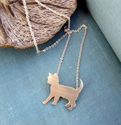 Sterling silver  Cat necklace by lunahoo on Etsy, $35.00 #cat #necklace