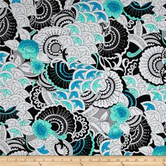 Designed by Studio 8 for Quilting Treasures, this cotton print fabric is perfect for quilting, apparel and home decor accents. Colors include black, blue, aqua and white.