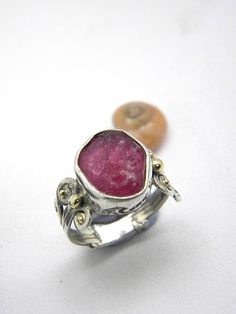 Ruby ring sterling silver abstract rough ruby by nikiforosnelly