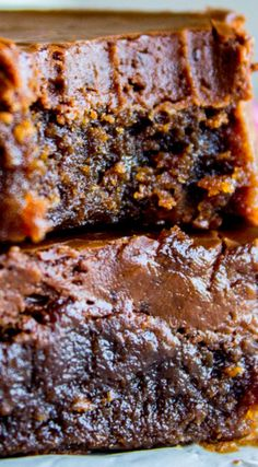 Nana's Famous Fudge Brownies ~ The most decadent fudge brownies with chocolate fudge frosting you will ever eat... These brownies are thick and chewy and not cakey in any way shape or form.