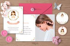 Creatura: Recordatorio o invitación de comunión de niña en rosa. Se diseñan las etiquetas y el marca páginas a juego. Es totalmente personalizable. #comunión #recordatorio #invitación #marcapágina #etiqueta #avatar #minder #communion #invitation #bookmark #kit #label #rosa #pink #guirnalda #garland #flores #flowers #garland #label #shabbychic