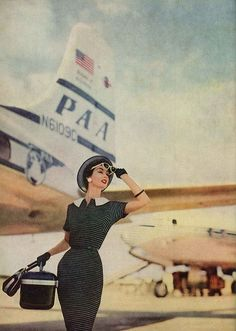 A very stylish vintage travel look from June 1956. #vintage #fashion #1950s #plane #travel