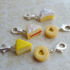 Progress keepers for knitting, crochet and crafts, kitsch food gift, novelty  stitch markers, biscuit and cake  themed knitting  accessory by chapelviewcrafts on Etsy