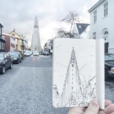 Hallgrimskirkja, aka the big church in Reykjavik. I was getting blown over whilst sketching here this morning, and I feel like snow is almost on its way...India in 4 more sleeps!! #LayoutlinesTravels
