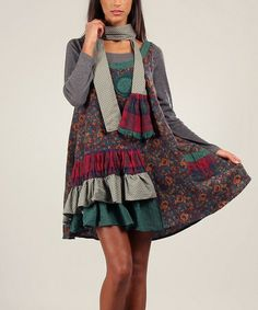 This Green & Red Josy Sleeveless Dress & Long-Sleeve Top by Ian Mosh is perfect! #zulilyfinds