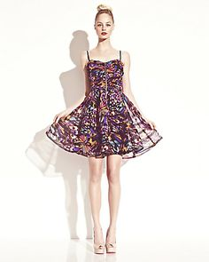 Printed Ruched Dress - Betsey Johnson