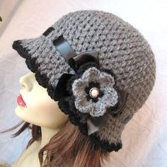 Womens Hut Charcoal Gray häkeln Cloche Farbband von JadeExpressions