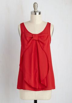 Hello, Bow! Sleeveless Top in Red. Decking yourself out in this sleeveless red top brings out the best in all your chosen outfits! #red #modcloth