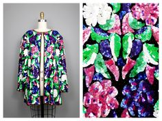 RARE Bright Beaded Sequined Jacket / Floral Garden Sequin Embellished Long Blazer XL by braxae on Etsy