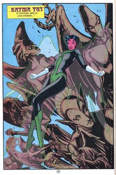 Katma Tui murdered wife of John Stewart --- artwork By Joe Phillips --- panel from Green Lantern Corps Quarterly (DC Comics Green Lanterns, Green Lantern Corps, John Stewart, Dc Comics Characters, Dc Heroes, Video Game Art, Comic Character, Dc Universe, Knight