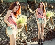 Gifi Cropped Top, Bubbles Ombre Shorts, Jeffrey Campbell 99 Two
