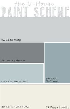 Light Blues Grays Neutrals Whole House Paint Scheme Exterior Paint Color Combinations, House Exterior Color Schemes, House Paint Color Combination, House Paint Exterior, Exterior Paint Colors, Bedroom Paint Colors, Paint Colors For Home, Light Blue Houses, Farmhouse Paint Colors