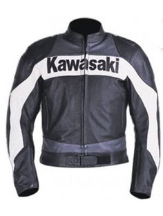 Simple Style Gray Colour Kawasaki 1 Motorcycle Biker Leather Jacket