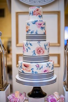 amazingly beautiful painted cake by Bobbette and Belle   we ❤ this!  moncheribridals.com  #weddingcakes #floralweddingcakes