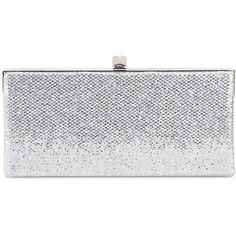 Jimmy Choo Celeste Glitter Clutch (£525) ❤ liked on Polyvore featuring bags, handbags, clutches, silver, silver glitter handbag, glitter clutches, silver handbag, jimmy choo clutches and silver glitter purse