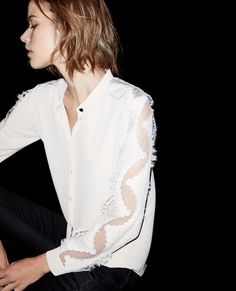 Shirt with French lace inserts - The Kooples