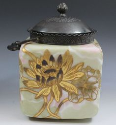 Mt. Washington Glass Biscuit Jar, Gold Lotus Floral