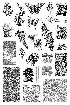 Forest theme rubber stamps leaf fern lichen mushroom patterns for polymer clay jewelry