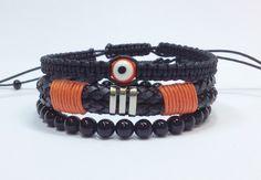 Kit de pulseiras masculinas; mens bracelets; olho grego