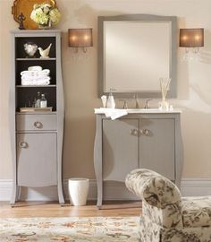 "Savoy Bath Gray •Solid wood frame •Birch veneer Vanity 35""H x 31""W x 22""D. $559 Storage Cabinet 64.75""H x 20""W x 14""D. $499 Mirror 32""H x 30""W x 1""D. $149"