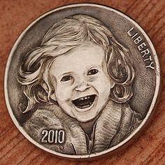 Aleksey Saburov - Little Ella 2013 Hobo Nickel, Making Out, Sculpture Art, Coins, Carving, Buffalo, Portraits, Profile, Female