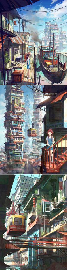 《Malaysian Girl Series》(马来西亚女孩)有宫崎骏的影子。丨马来西亚插画师Chong FeiGiap